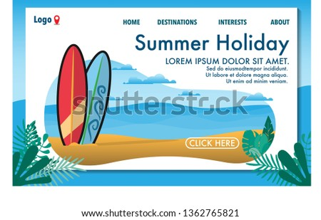 Summer holiday vacation website template of the beach vacation with surfboard and view of the clear sea with clear sky