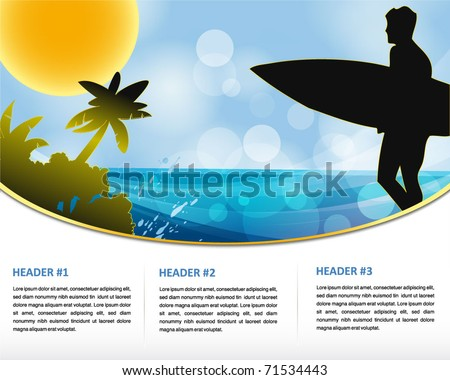 summer holiday web and print template - stock vector