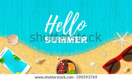 Summer holiday web banner. Top view on fresh cocktail, seashells, sun glasses, smartphone and sea sand on wooden texture. Vector illustration.