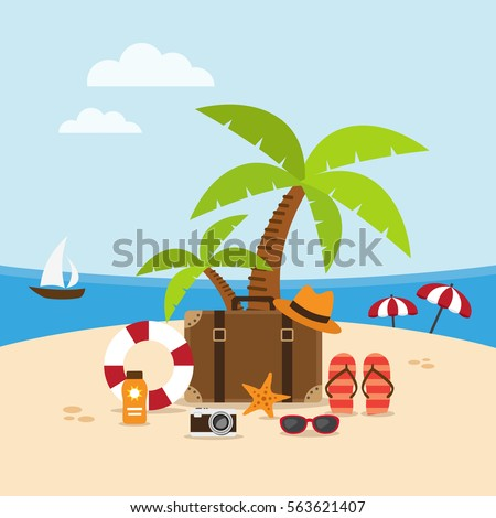 Summer holidays background on the beach with travel accessories. Vector illustration.