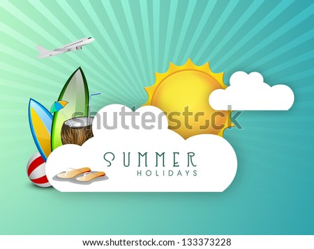 Summer holidays background with sun, flip flops, coconut water and airplane.