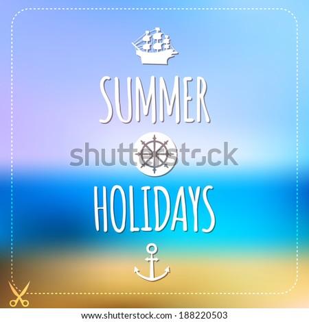 Summer holidays card. Blurry vector landscape. Beach, sea, tourism