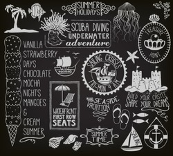 Summer Holidays Chalkboard - Blackboard with seasonal labels, banners, frames and clip art, including ships, sand castle, fish, anchor, beach umbrella and chair, seashells and ice cream