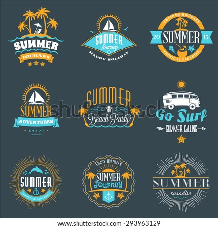 summer holidays design elements