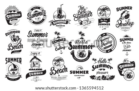 Summer holidays emblems or logo badge set with hand drawn calligraphy. Black vector lettering design for vacation tour on a white background. Typographic symbol with beach house shells and other