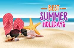 Summer Holidays in Beach Seashore. Vector Illustration