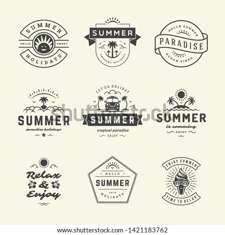 Summer holidays labels and badges retro typography design set. Templates for greeting cards, posters and apparel design. Vector illustration.