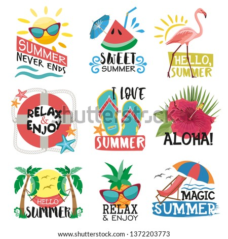 Summer holidays labels, logos, hand drawn tags and elements set for summer holiday. Templates for greeting card, posters and appared design