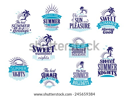 summer holidays labels or