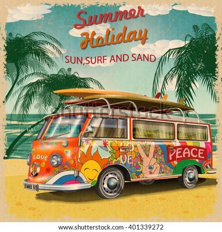 stock vector summer holidays poster with retro bus 401339272 - Каталог — Фотообои «Ретро»