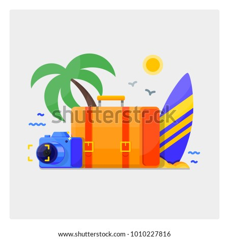 Summer holidays vacation vector illustration, flat style