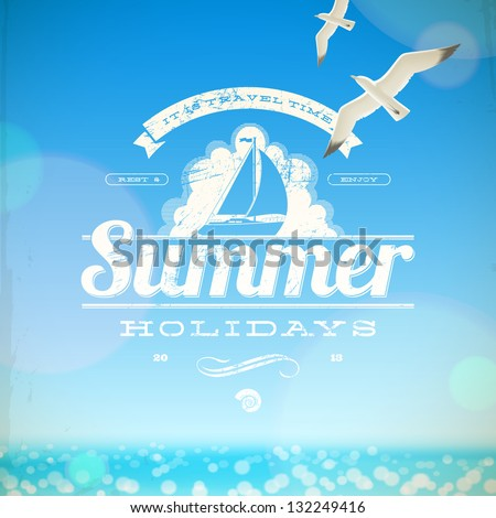 summer holidays vector emblem
