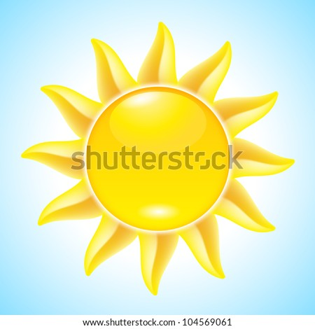 Summer hot Cartoon Sun. Illustration for design