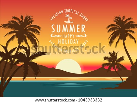 summer hot sea  sun light  beach  island landscape vacation  holiday  coconut trees tropical sunset hawaii