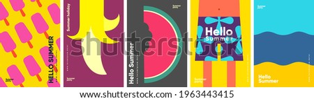 Summer. Ice cream, banana, watermelon, beach shorts and the sea. Set of vector illustrations. Abstract vector background patterns.Perfect background for posters, cover art, flyer, banner.