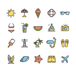 Summer Icon Color Thin Line Set Travel Recreation Holiday Isolated on White Background. Vector illustration