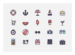 summer icon set vector.