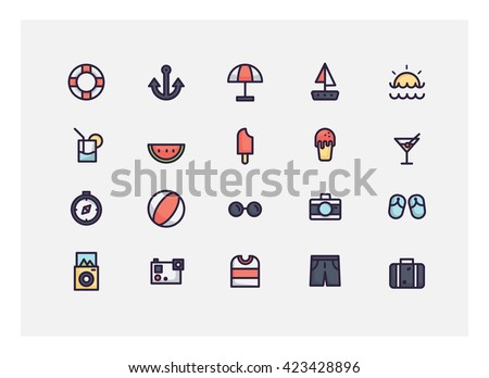 summer icon set vector.