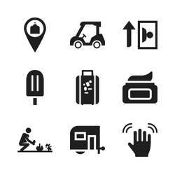 summer icon. 9 summer vector icons set. farmer, golf cart and ice cream icons for web and design about summer theme