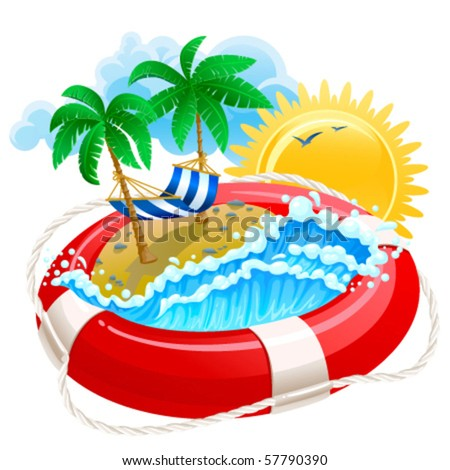 Summer icon with life buoy
