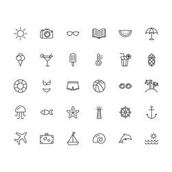 summer icons black thin line set on white background