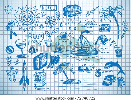 summer icons on the blue paper