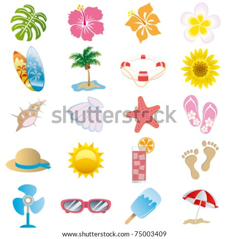 summer icons set illustration