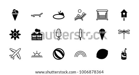 summer icons set of 18