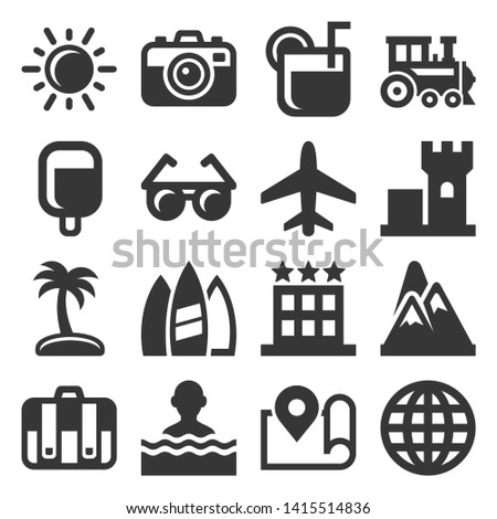 Summer Icons Set on White Background. Vector