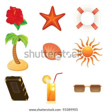 Summer icons set - Set of detailed beach and travel icon