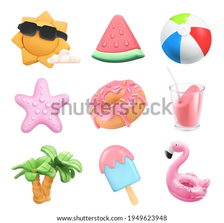 Summer icons set. Sun, ball, inflatable flamingo toy, watermelon, cocktail, palm trees, starfish, donut, ice cream. 3d vector plasticine art objects