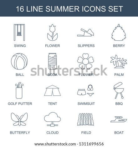 summer icons. Trendy 16 summer icons. Contain icons such as swing, flower, slippers, berry, ball, soda, palm, golf putter, tent, swimsuit, bbq. summer icon for web and mobile.