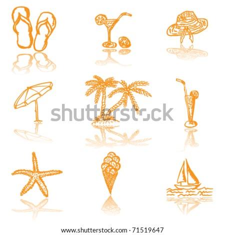 Summer icons - vector illustration