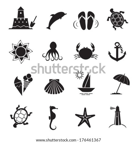 summer icons vector of black