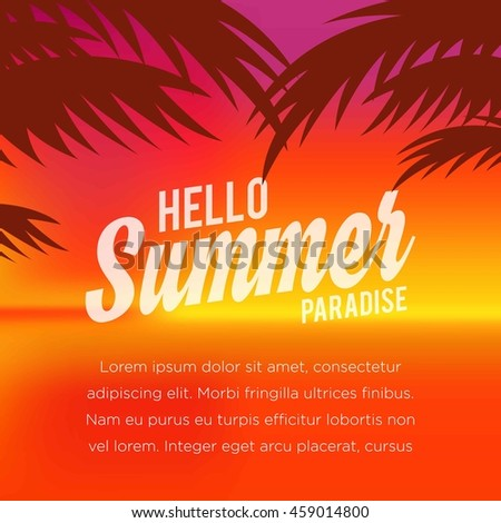 Summer illustration. Vacation on the holidays poster template. #459014800