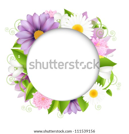 Stock Photo Summer illustration With Color Flower, Vector Illustration