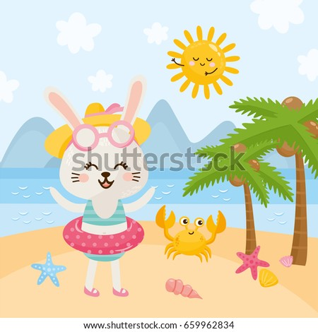 summer illustration with cute
