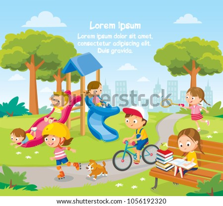Summer illustration with kids playing