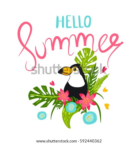 summer illustration with toucan