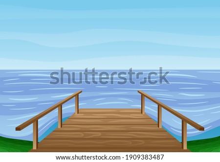 summer illustration with wooden