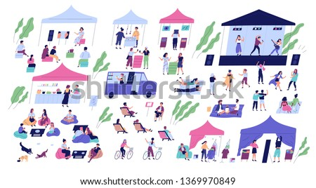 Summer indie open air festival with stage for music performances, stalls or kiosks selling goods, food trucks and cute tiny people. Seasonal outdoor event. Modern flat cartoon vector illustration.