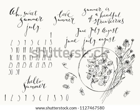 Summer ink lettering and illustration calendar design set. Wild strawberries on a plate and daisy bouquet top view. Hand written summer months and numbers.