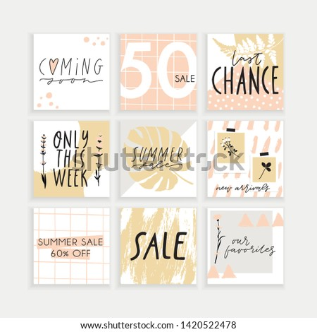 Summer Instagram business, fashion, brand ad templates set for posts, stories advertising. Social media tropical trendy textured patterns, monstera palm leaves background. Bright tropical leaf vector