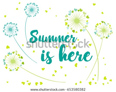 summer is here vector card with