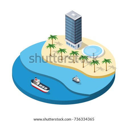 Summer isometric island with hotel, pool, palm trees and ships