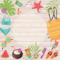 Summer items frame on wooden background. Borders Tropical monstera leaves, bathing accessories, apparel, and care.  Vector cartoon elements of sea recreation