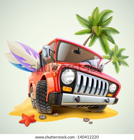 summer jeep car on beach with