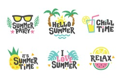 Summer labels, stickers, icons, logo set. Tropical party elements in flat style. Chill, relax, love. Cute holiday badges.