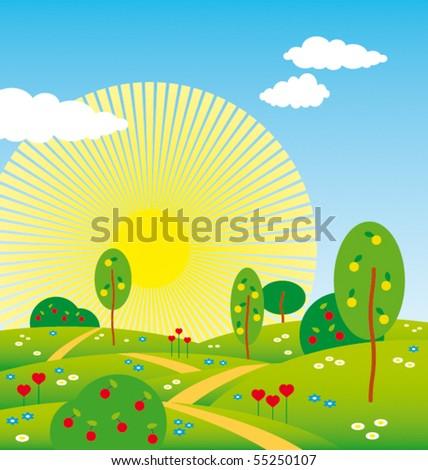 summer landscape - stock vector