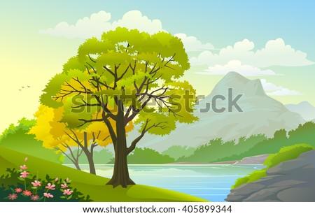 summer landscape and blue lake